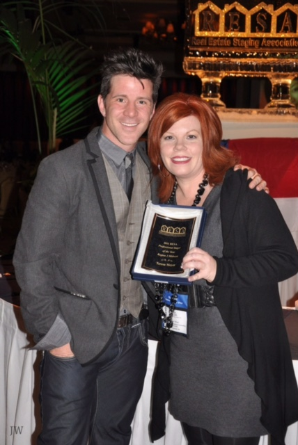 """2011 Midwest Stager of the Year"" ~Teresa Meyer with Matthew Finlason (HGTV's The Stagers) at the Real Estate Staging Association (RESA) convention."
